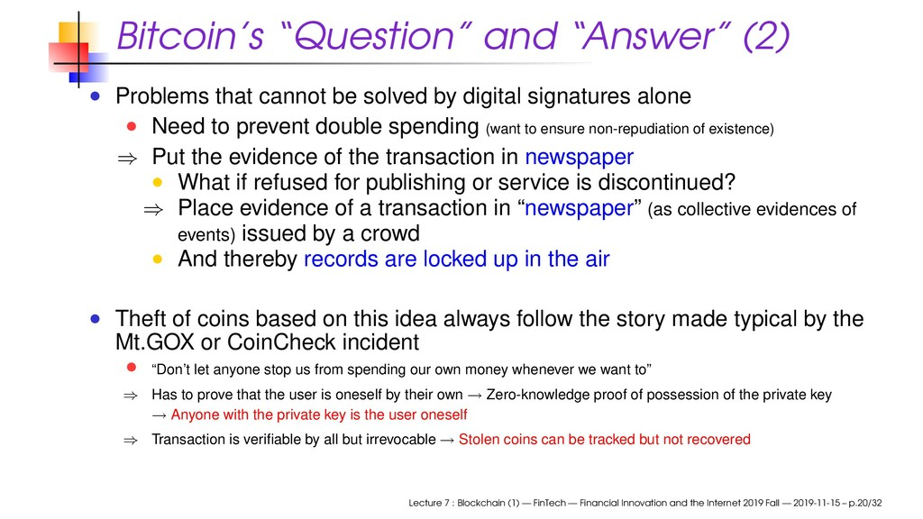 "Bitcoin's ""Question"" and ""Answer"" (2) Problems ..."