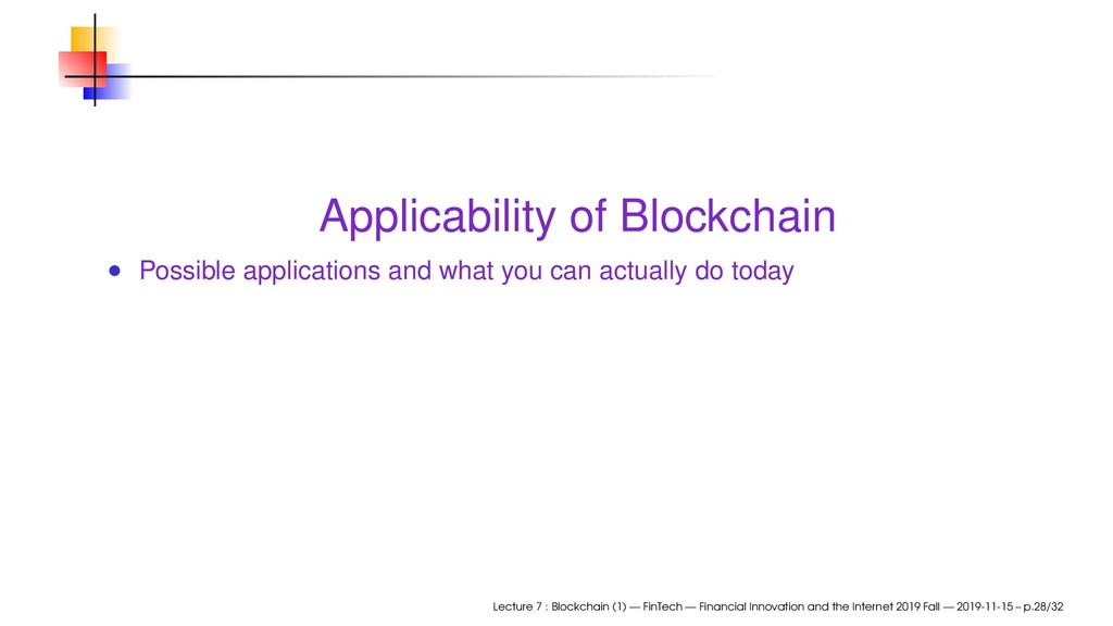 Applicability of Blockchain Possible applicatio...