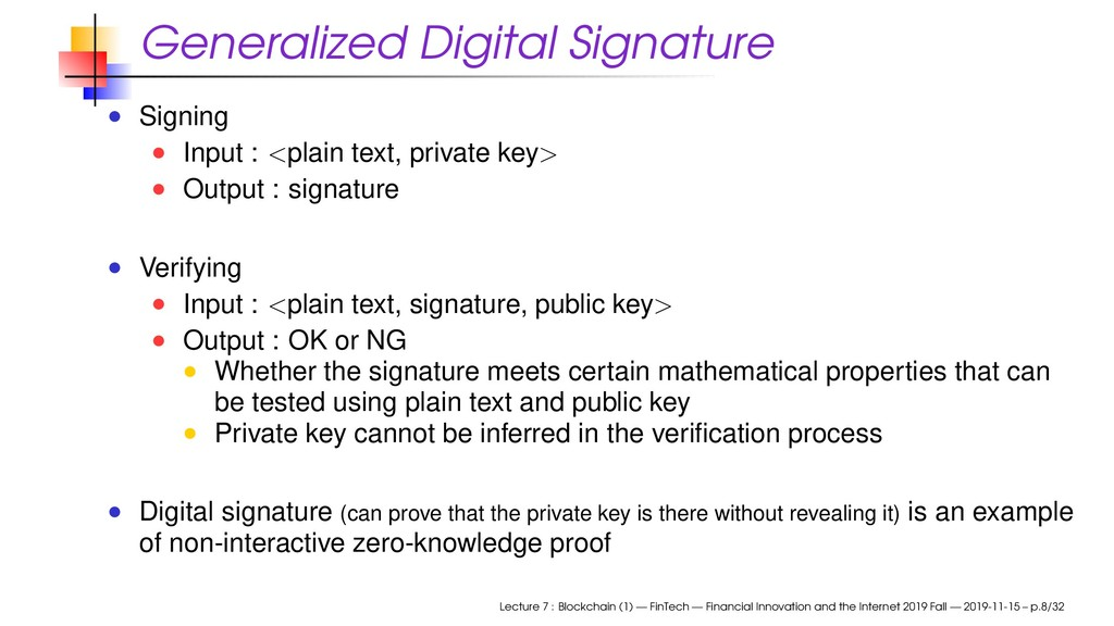 Generalized Digital Signature Signing Input : <...