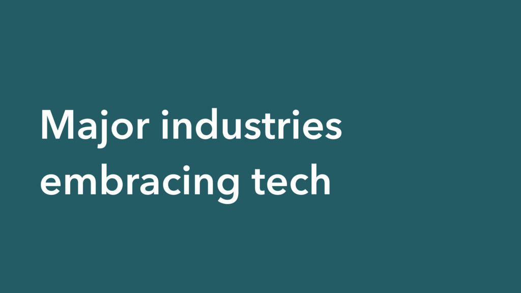 Major industries embracing tech