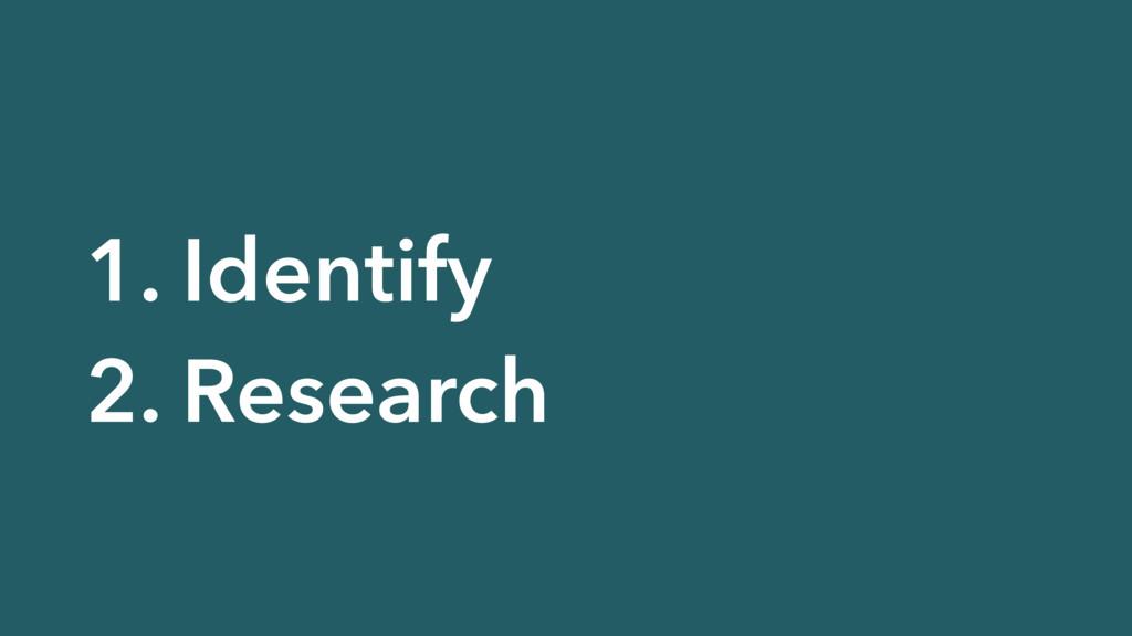 1. Identify 2. Research