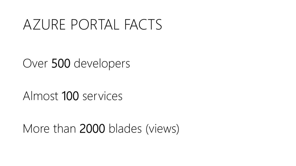 AZURE PORTAL FACTS Over 500 developers Almost 1...