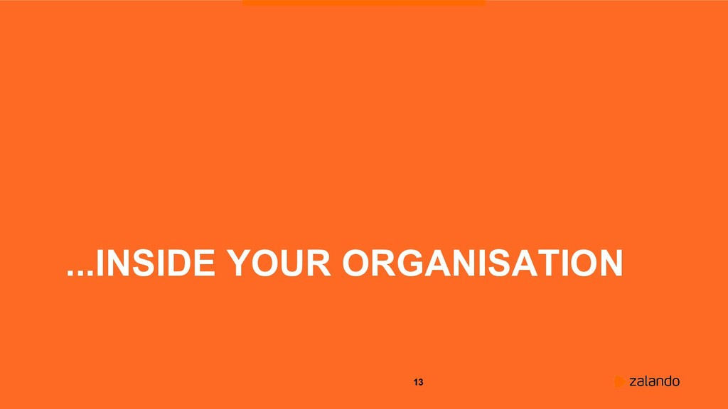 13 ...INSIDE YOUR ORGANISATION