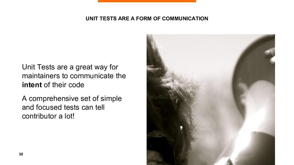 30 UNIT TESTS ARE A FORM OF COMMUNICATION Unit ...