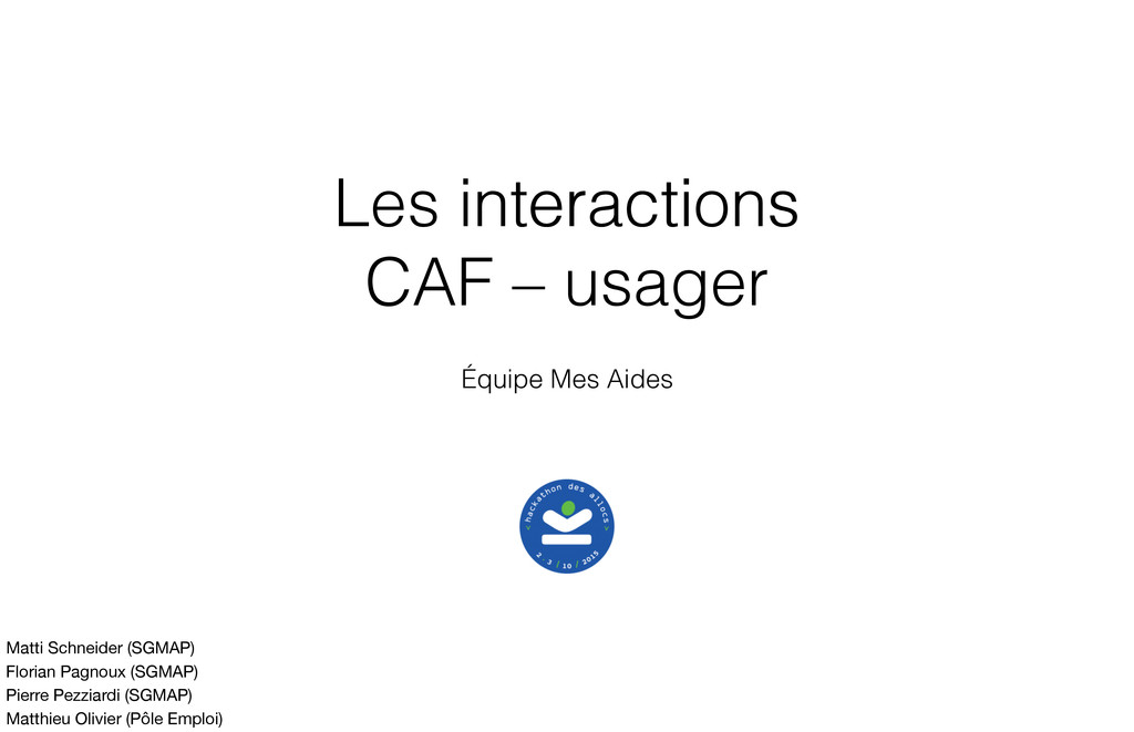 Les interactions CAF – usager Équipe Mes Aides ...