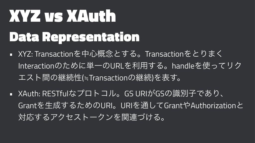 XYZ vs XAuth Data Representation • XYZ: Transac...