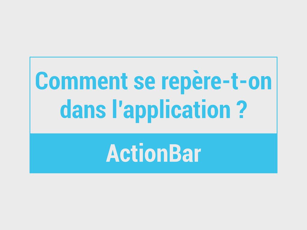 Comment se repère-t-on dans l'application ? Act...