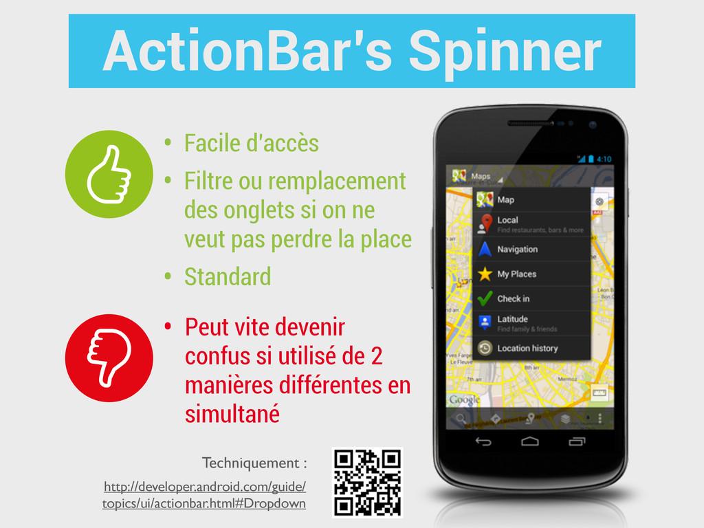 ActionBar's Spinner • Facile d'accès • Filtre o...