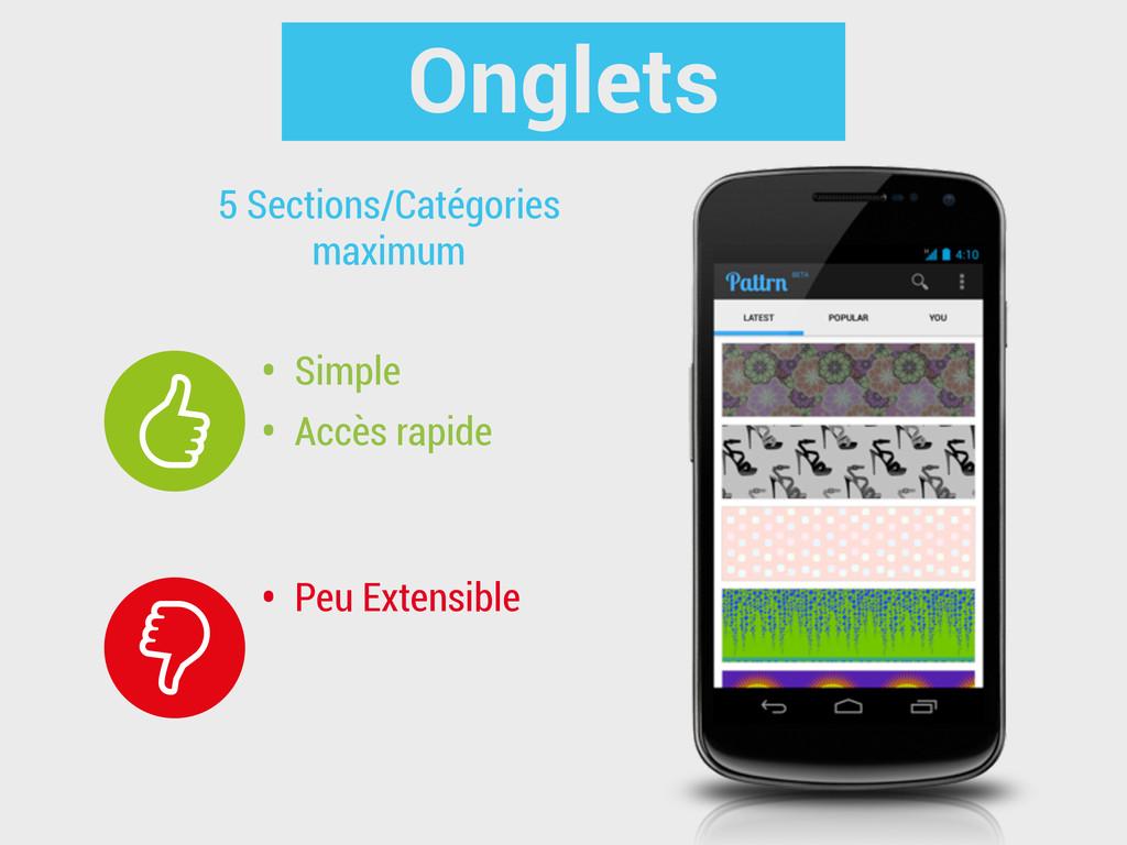 Onglets • Simple • Accès rapide 5 Sections/Caté...