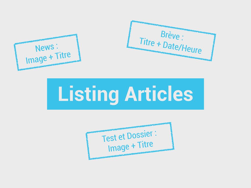 Listing Articles News : Image + Titre Brève : T...