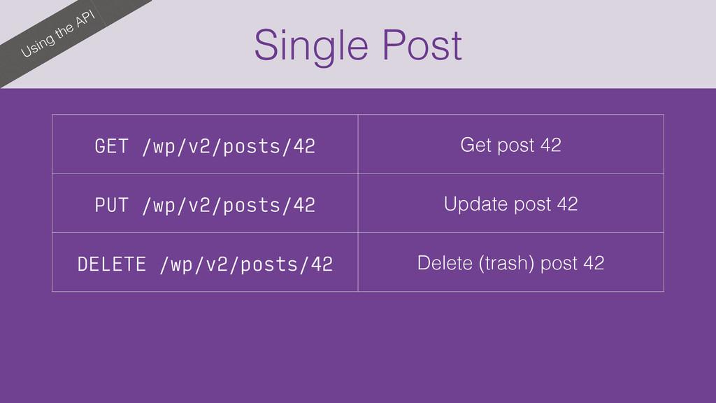 Single Post Using the API GET /wp/v2/posts/42 G...