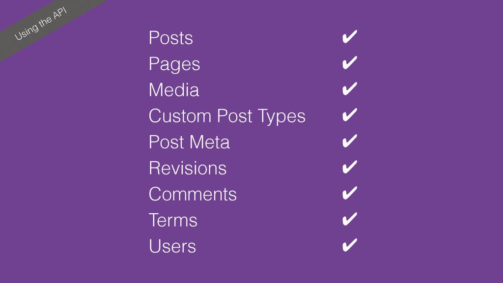 Using the API Posts ✔ Pages ✔ Media ✔ Custom Po...