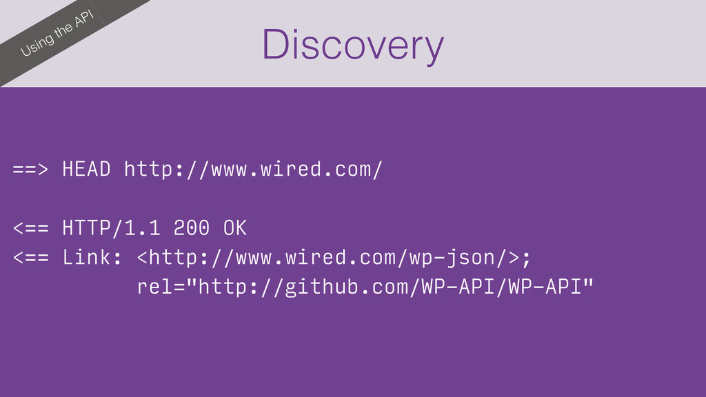 Using the API Discovery ==> HEAD http://www.wir...