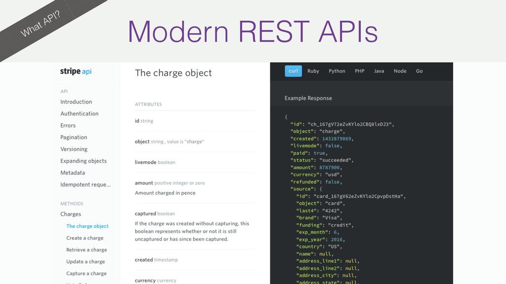 What API? Modern REST APIs