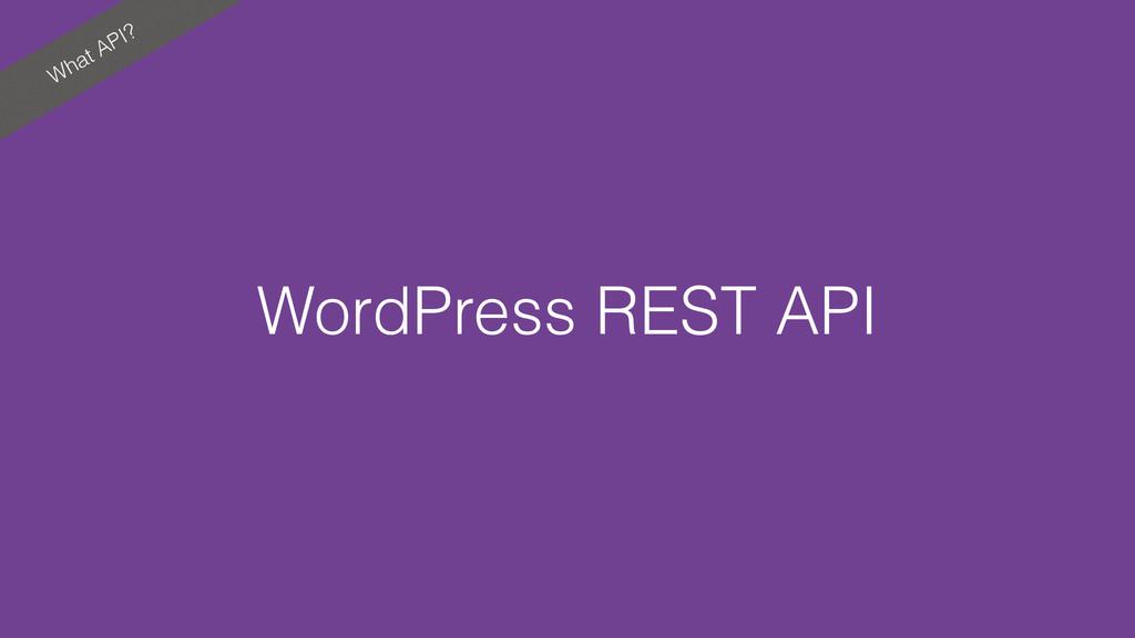 What API? WordPress REST API