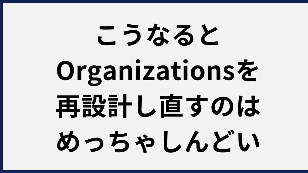 こうなると Organizationsを 再設計し直すのは めっちゃしんどい
