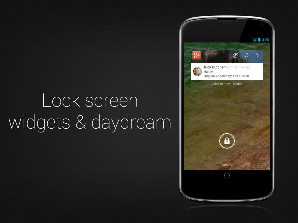 Lock screen widgets & daydream