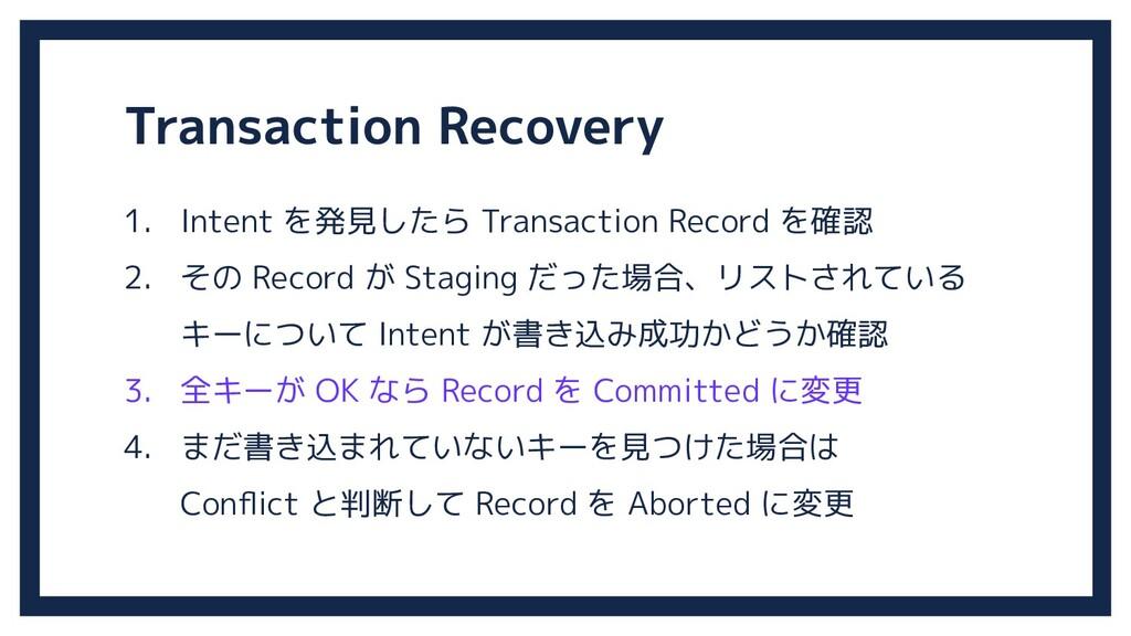 1. Intent を発見したら Transaction Record を確認 2. その R...