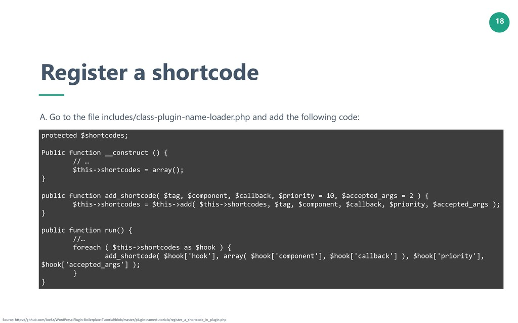 18 Register a shortcode A. Go to the file inclu...