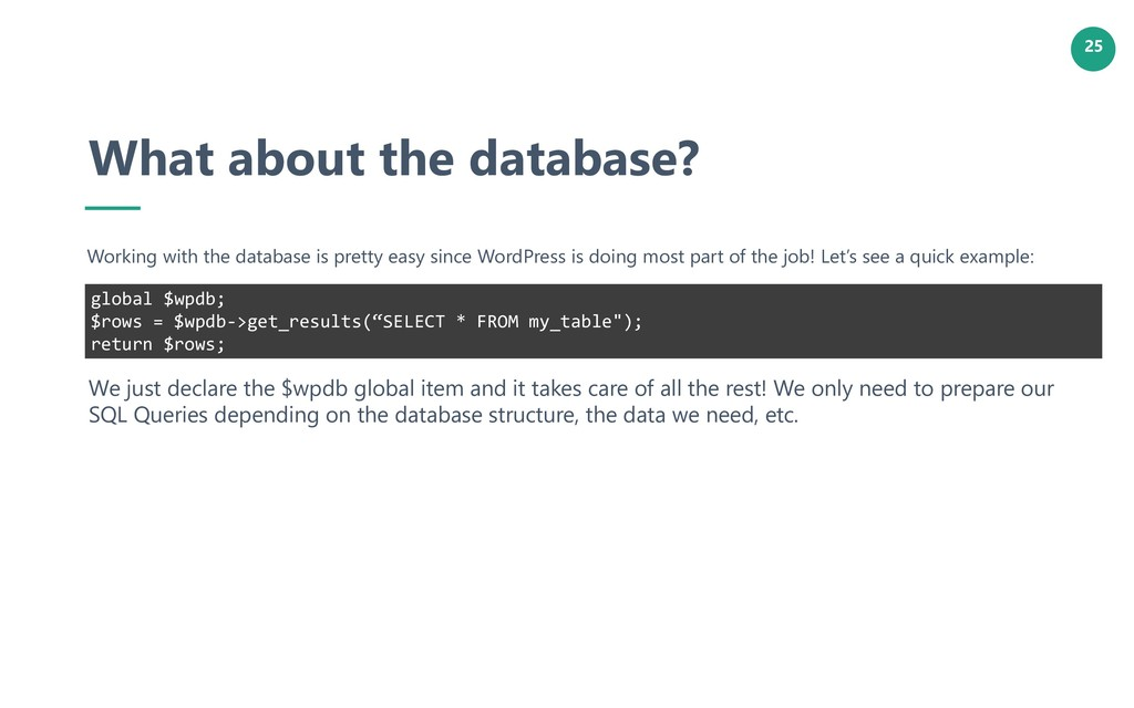 25 What about the database? Working with the da...