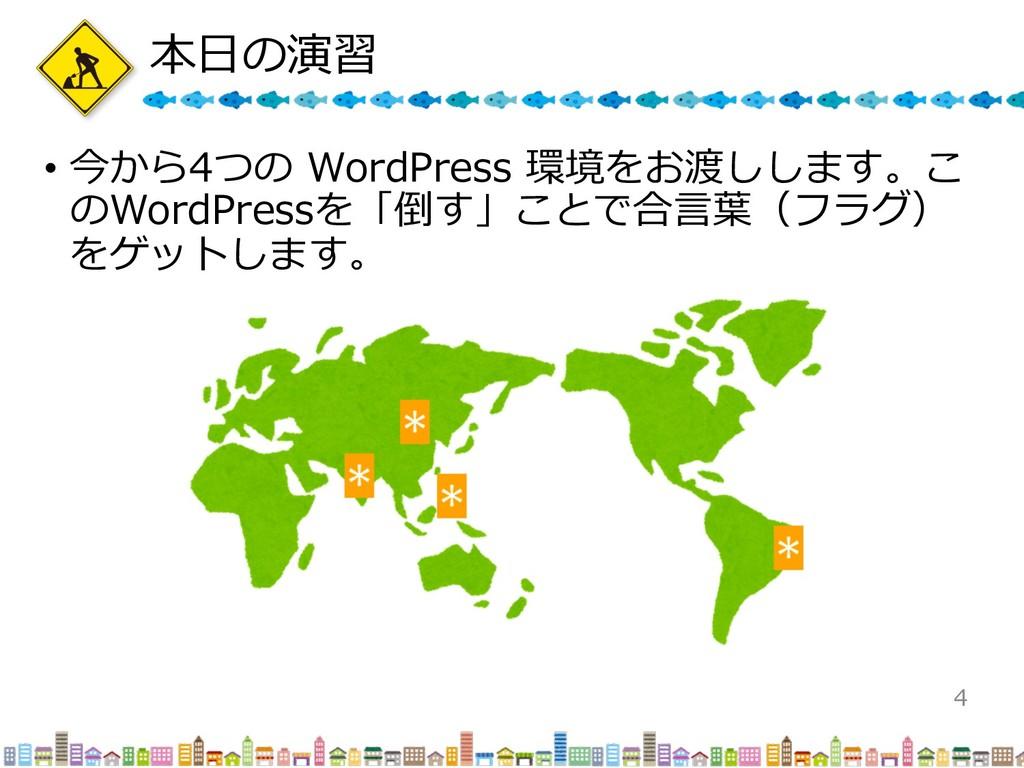 本⽇の演習 • 今から4つの WordPress 環境をお渡しします。こ のWordPress...