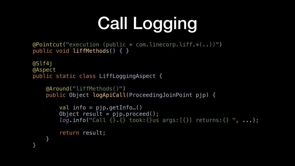 "Call Logging @Pointcut(""execution (public * com..."
