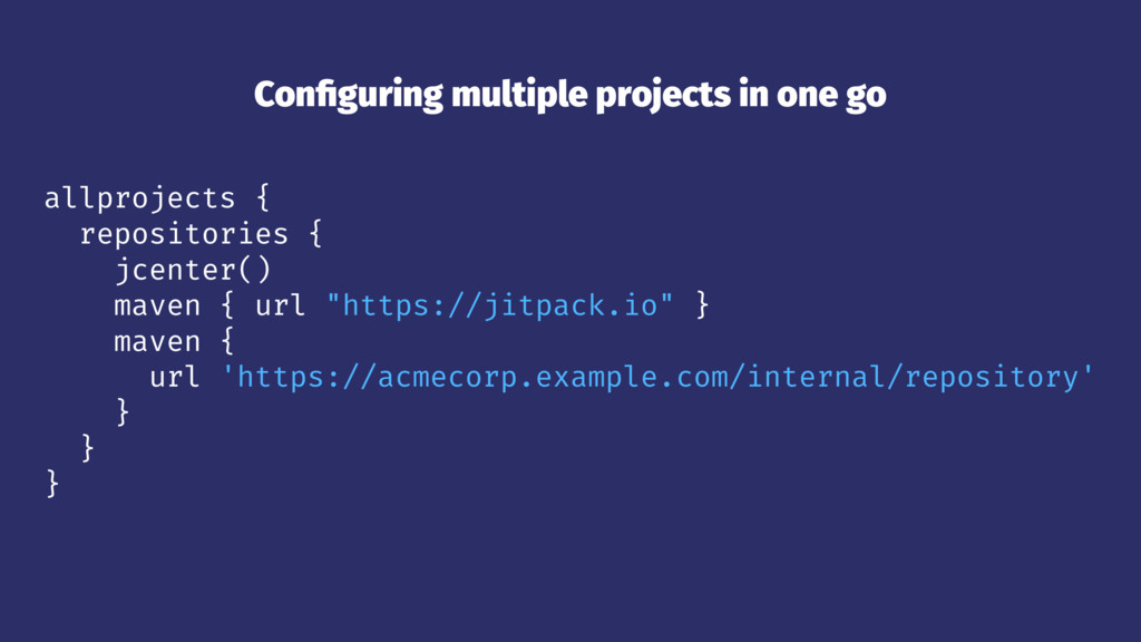 Configuring multiple projects in one go allproje...