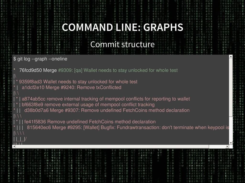 COMMAND LINE: GRAPHS Commit structure $ git log...