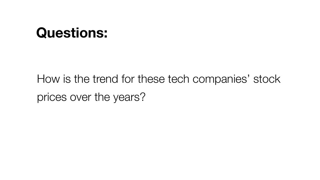 How is the trend for these tech companies' stoc...