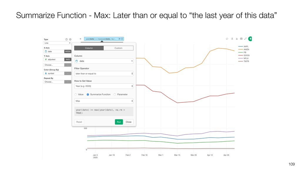 109 Summarize Function - Max: Later than or equ...