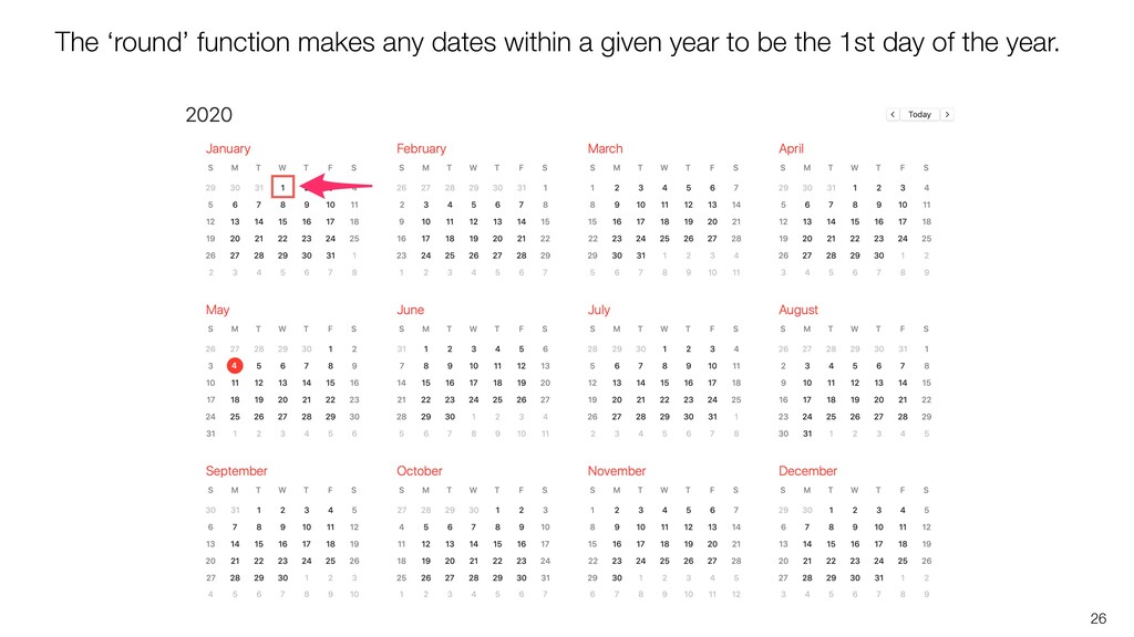 26 The 'round' function makes any dates within ...