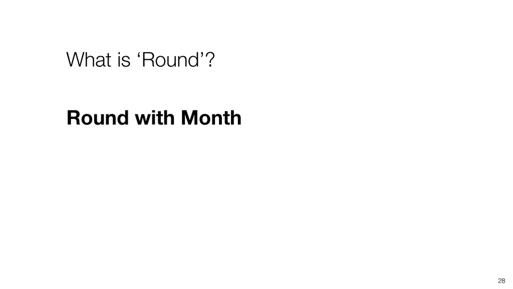 28 What is 'Round'? Round with Month