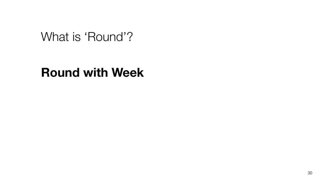 30 What is 'Round'? Round with Week