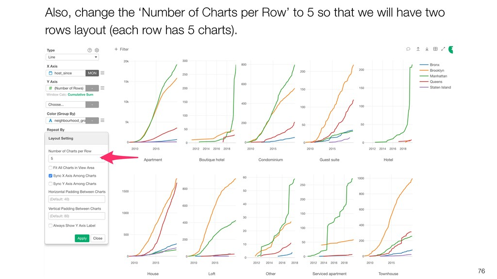 76 Also, change the 'Number of Charts per Row' ...