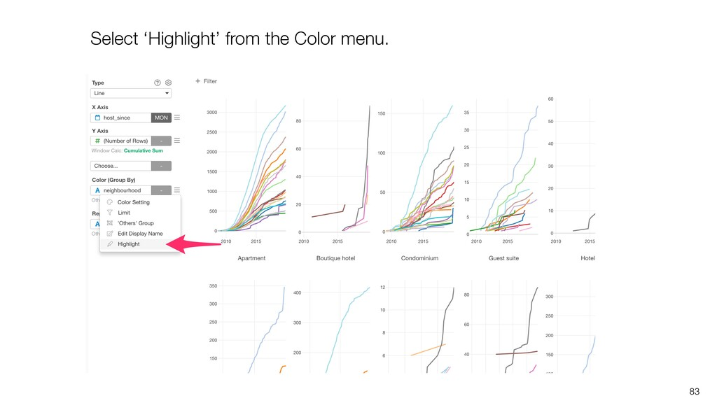 83 Select 'Highlight' from the Color menu.