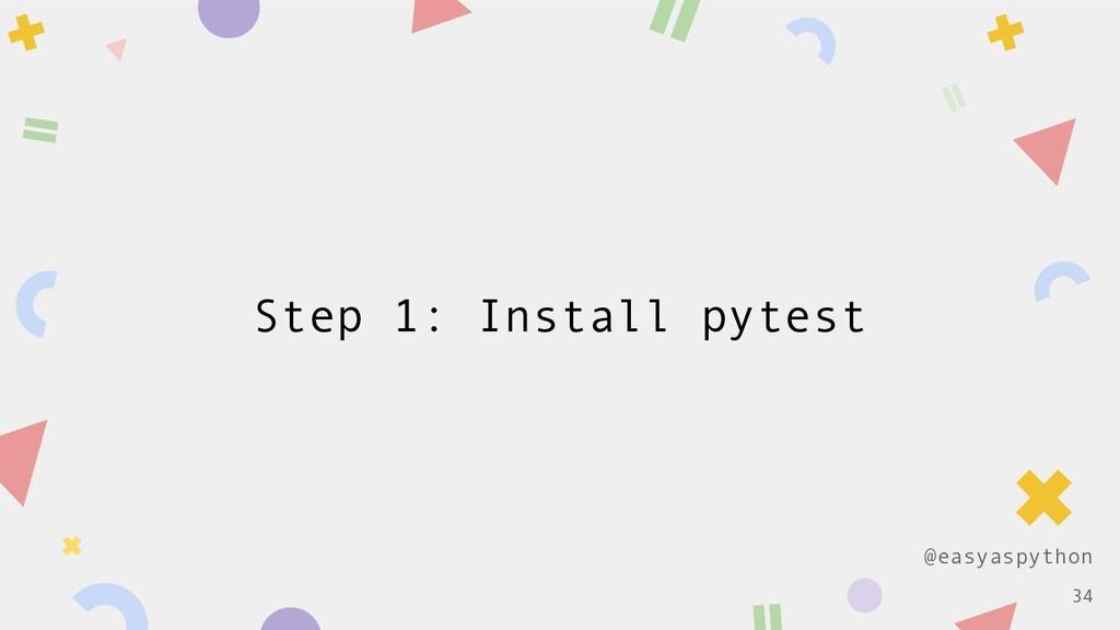 @easyaspython Step 1: Install pytest !34