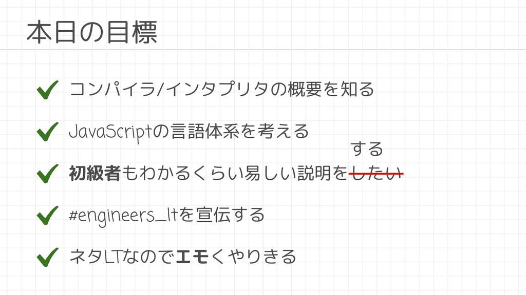 コンパイラ/インタプリタの概要を知る JavaScriptの言語体系を考える 本日の目標 初級...