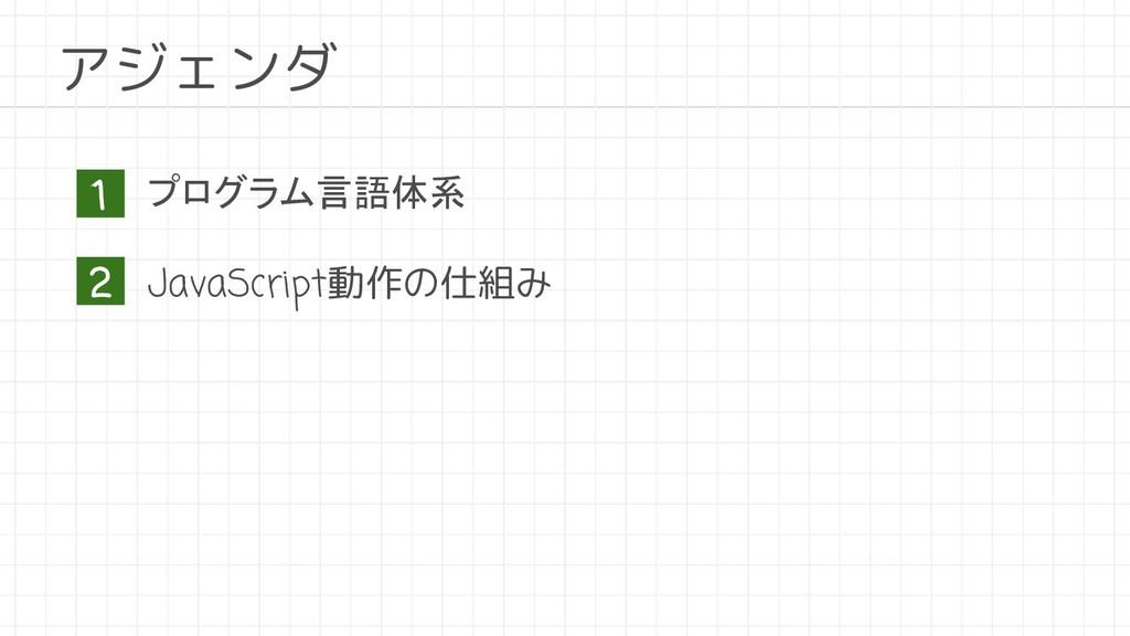 プログラム言語体系 JavaScript動作の仕組み アジェンダ 1 2