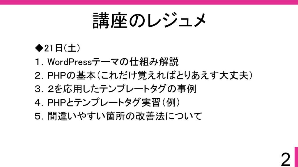 2 講座のレジュメ ◆21日(土) 1.WordPressテーマの仕組み解説 2.PHPの基本...