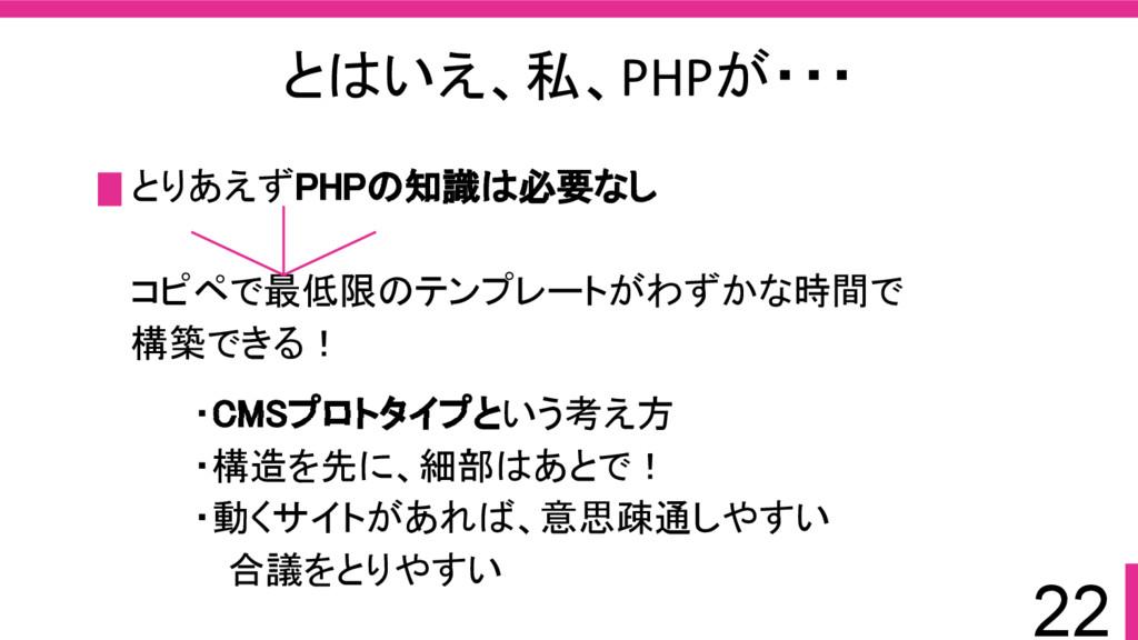 22 とはいえ、私、PHPが・・・ とりあえずPHPの知識は必要なし コピペで最低限のテンプレ...