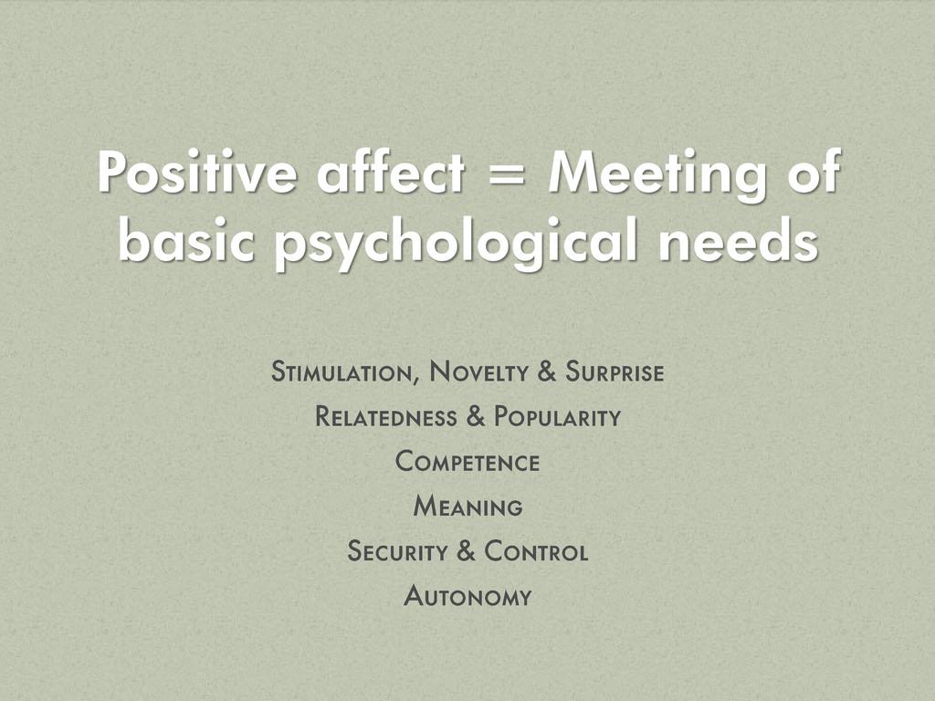 Positive affect = Meeting of basic psychologica...