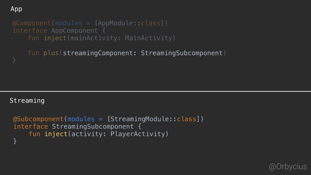 App @Orbycius Streaming @Component(modules = [A...