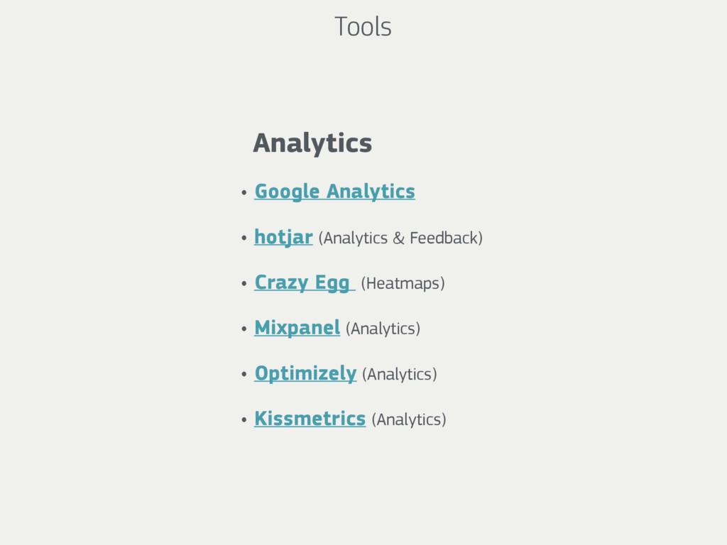 Tools Analytics • Google Analytics • hotjar (An...