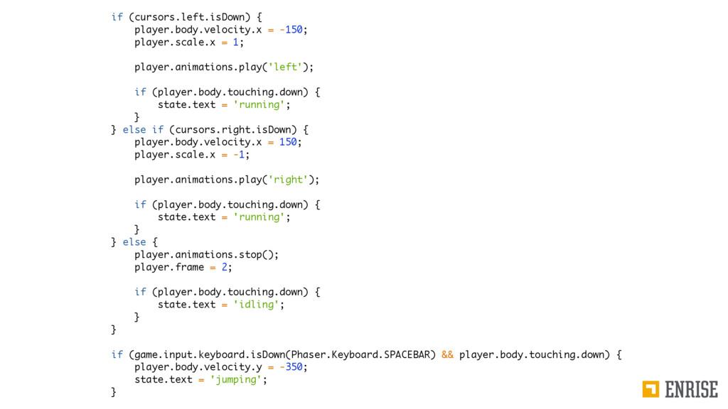 if (cursors.left.isDown) { player.body.velocity...