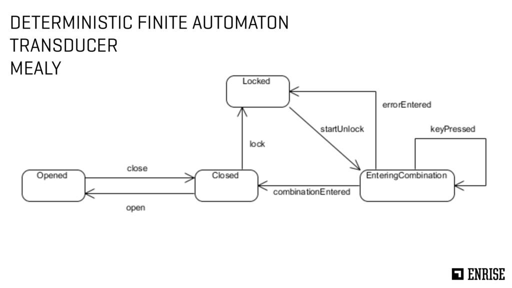 DETERMINISTIC FINITE AUTOMATON TRANSDUCER MEALY