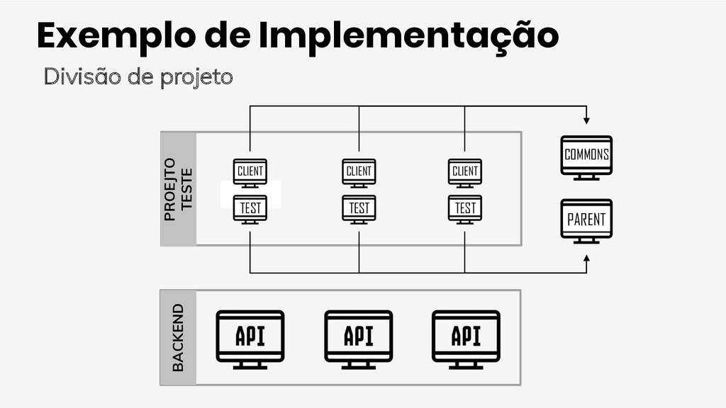 Exemplo de Implementação Divisão de projeto BAC...