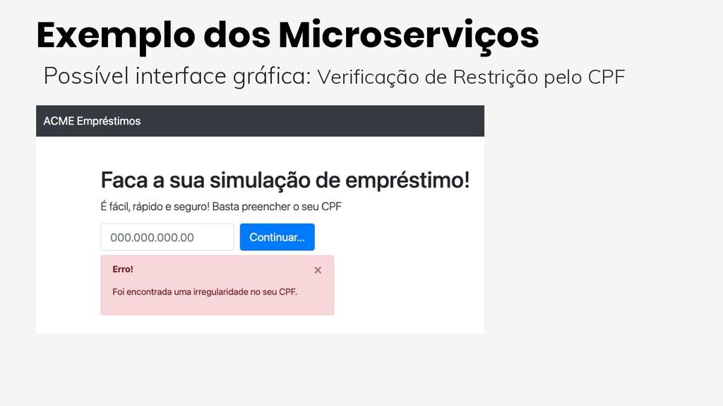 Exemplo dos Microserviços Possível interface gr...