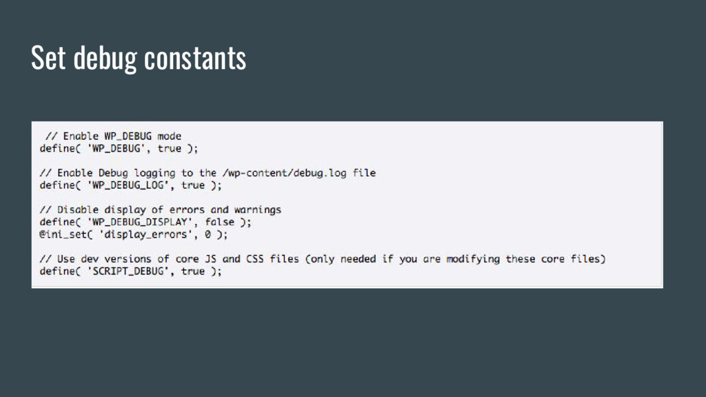 Set debug constants