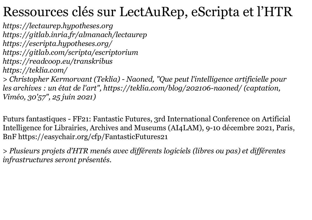 Ressources clés sur LectAuRep, eScripta et l'HT...