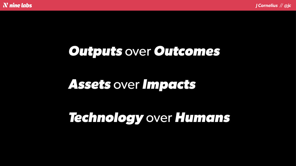 J Cornelius / / @jc Outputs over Outcomes Asset...
